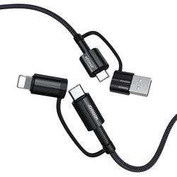 Cablu de date USB/ Type-C la Type-C/ Lightning JoyRoom G3, 60W, 1.2m, negru