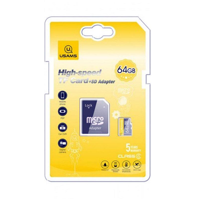 Card de memorie 64GB USAMS Micro SDHC clasa 6 + adaptor, negru