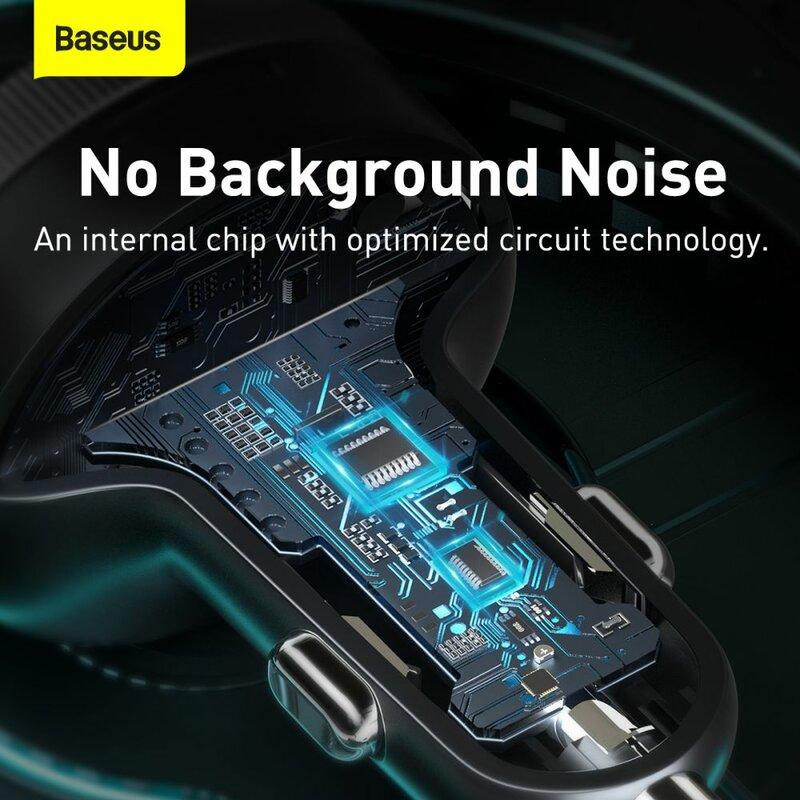 Modulator FM cu Bluetooth Baseus, incarcator auto 2xUSB, negru, CCLH-01