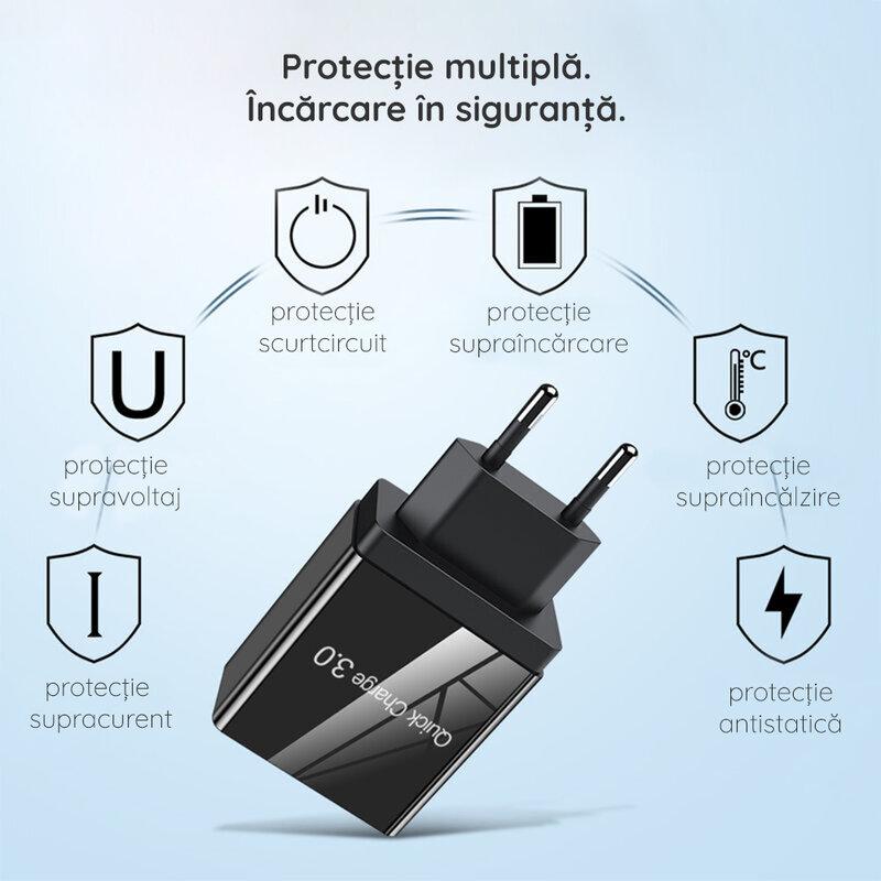 Incarcator Priza Qualcomm Fast 3xUSB 4.8A Quick Charge USB 3.0 - Negru