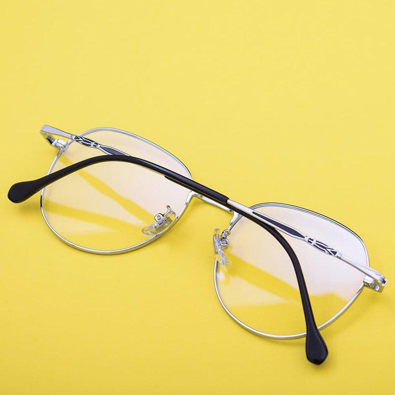 Ochelari rotunzi dama protectie ecran, filtru lumina albastra, auriu