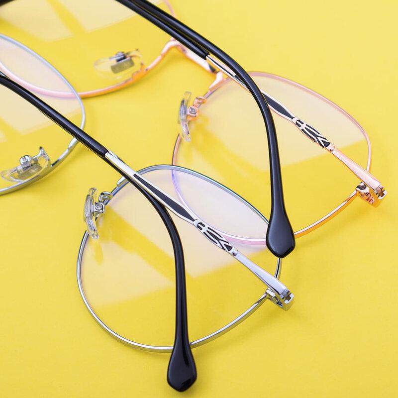 Ochelari rotunzi unisex protectie ecran, filtru lumina albastra, auriu/ negru