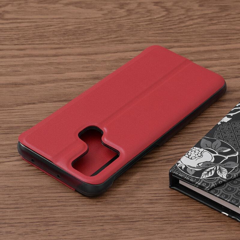 Husa Samsung Galaxy M21 Eco Leather View Flip Tip Carte - Rosu