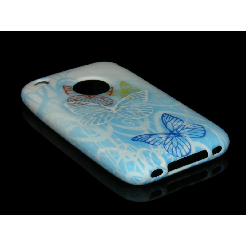 Husa IPHONE 3G / 3GS Silicon Gel TPU Model Fluturasi Bleu