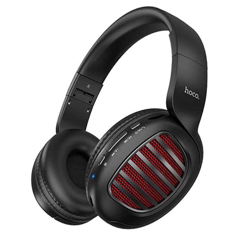 Casti wireless on-ear Hoco W23, Bluetooth, Jack 3.5mm, negru