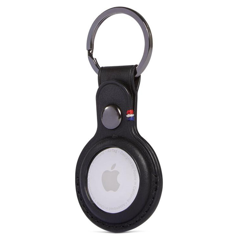 Breloc Apple AirTag Decoded Natural Leather Keychain, negru