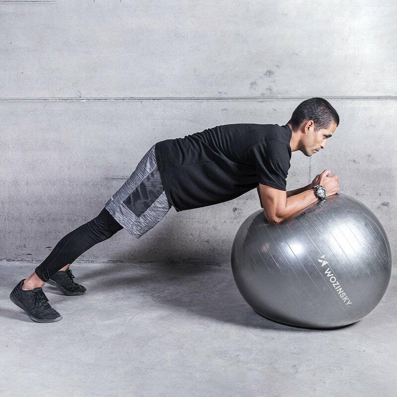 Minge gimnastica pentru recuperare fizica, fitness, yoga, pompa manuala, gri