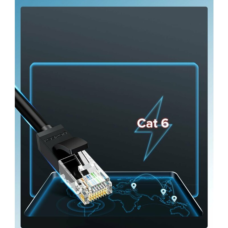 Cablu UTP Cat 6 RJ45 Ugreen, LAN 26 AWG, 1Gbps, 1m, verde, 80833