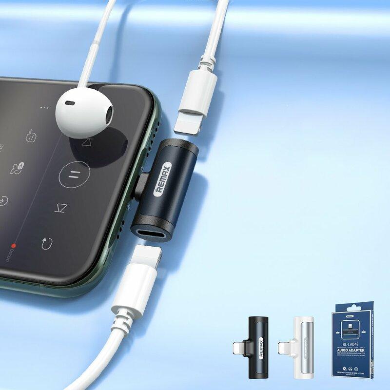 Adaptor audio iPhone Remax Lightning la 2x Lightning, negru, RL-LA04i