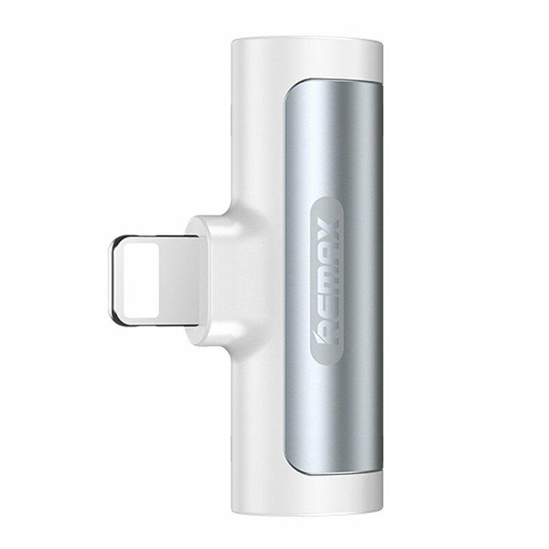 Adaptor audio iPhone Remax Lightning la 2x Lightning, alb, RL-LA04i