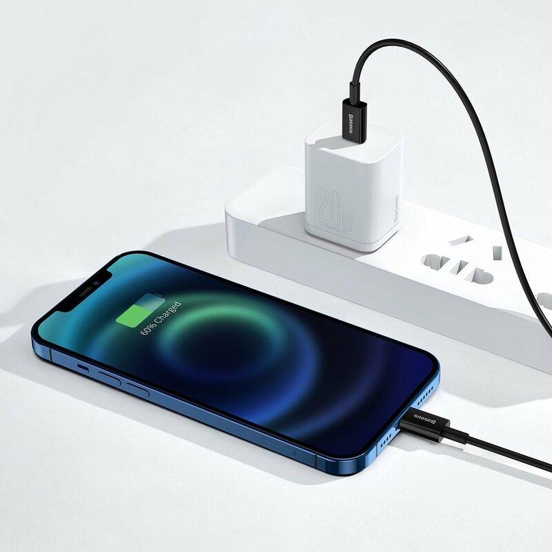 Cablu de date USB-C la Lightning Baseus, 20W, 2m, negru, CATLYS-C01