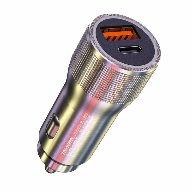 Incarcator auto WK Design USB + Type-C PD20W, argintiu, WP-C30