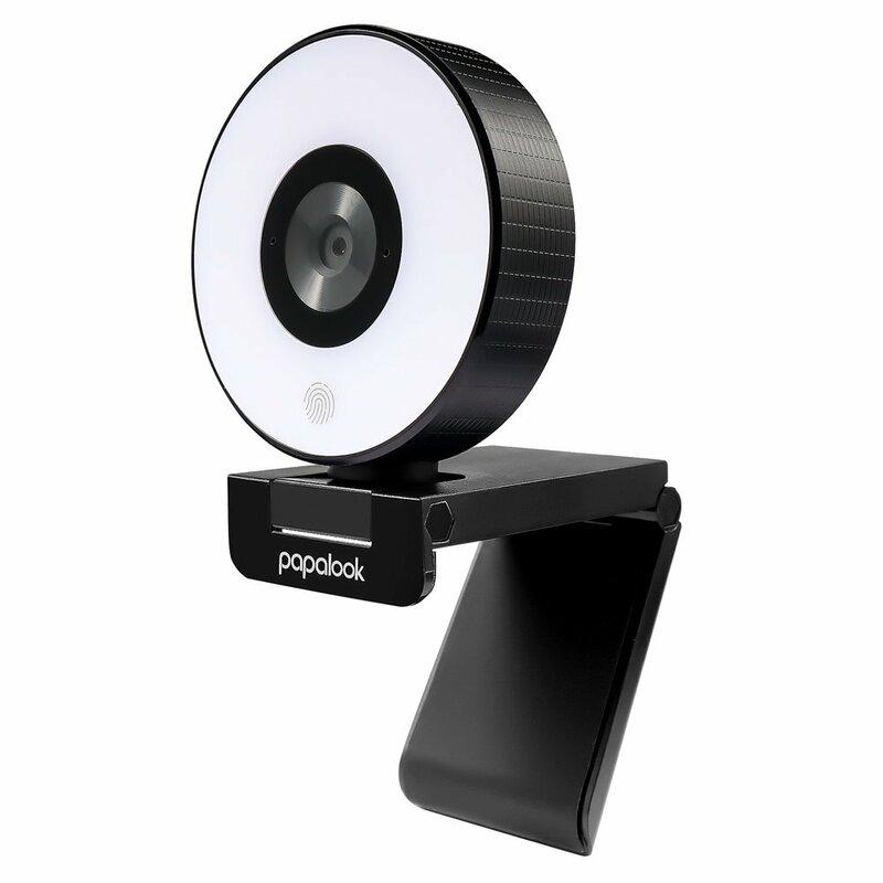 Camera web cu ring light Papalook PA552, microfon, Full HD, negru