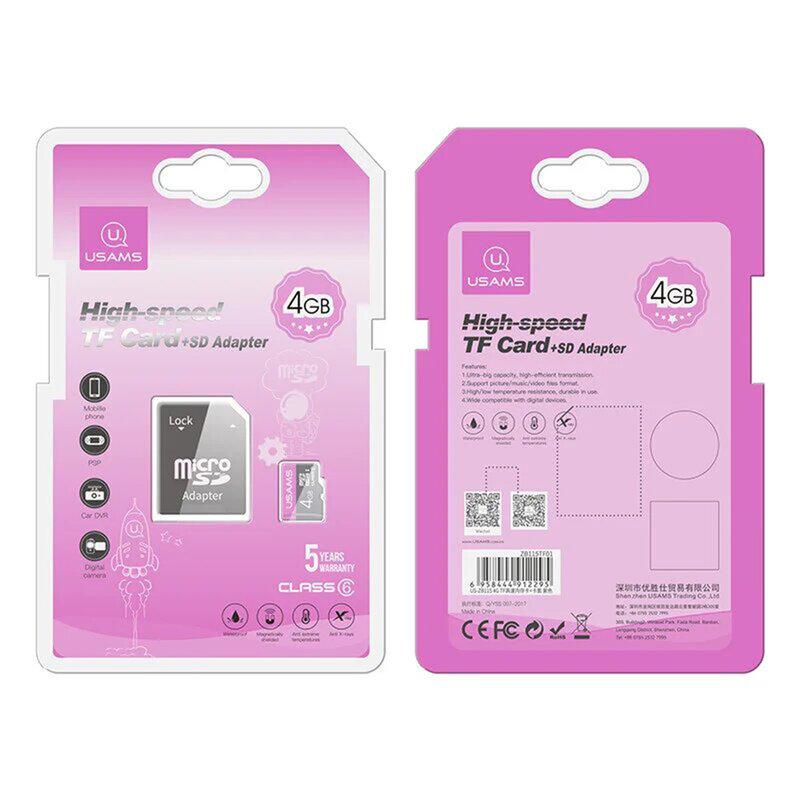 Card de memorie 4GB USAMS Micro SDHC clasa 6 + adaptor, negru