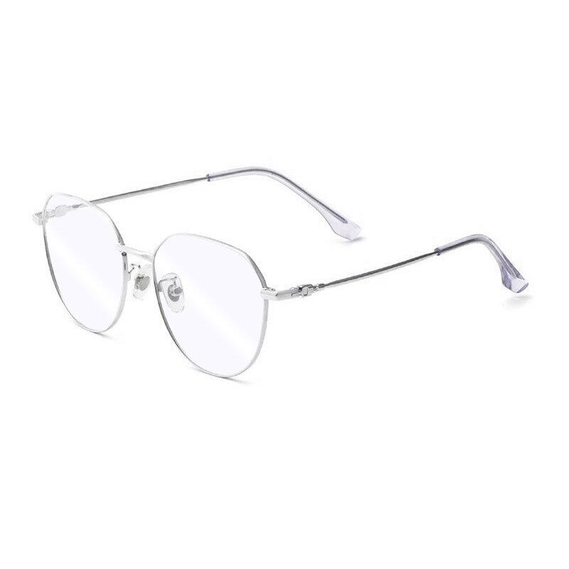 Ochelari rotunzi unisex protectie ecran, filtru lumina albastra, argintiu