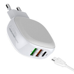 Incarcator priza Ldnio A3510Q 2x USB QC3.0 + Type-C PD + cablu USB-C, alb