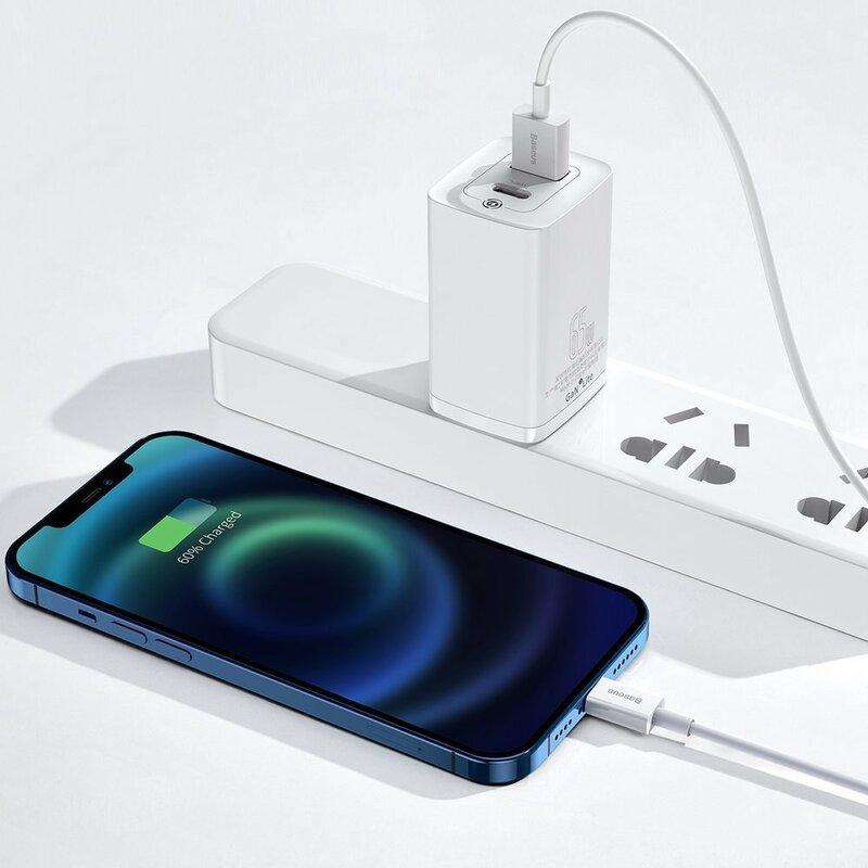 Cablu de date USB la Lightning Baseus, 2.4A, 1m, alb, CALYS-A02