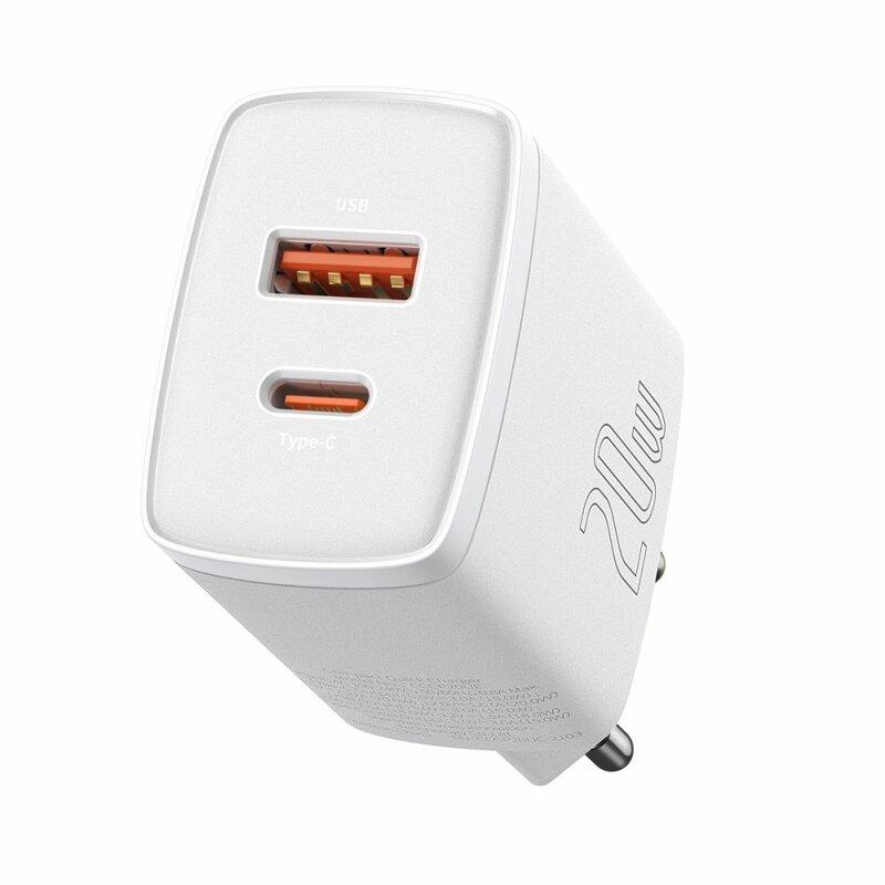 Incarcator priza Baseus USB QC3.0 + Type-C 20W, alb, CCXJ-B02