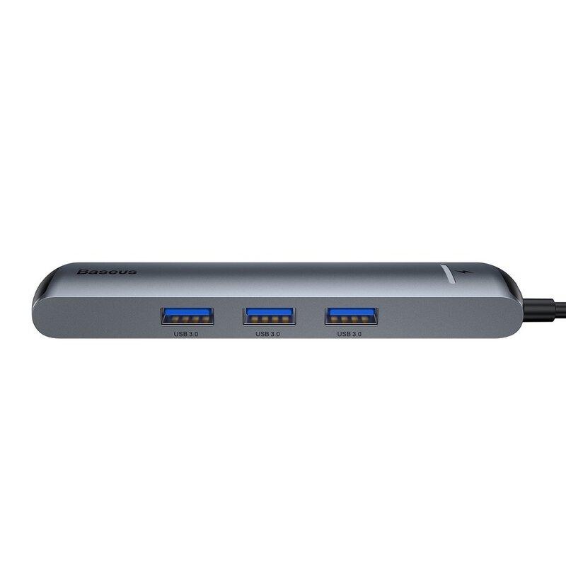 Hub USB-C Baseus la HDMI, Type-C, 3x USB, RJ45, gri, CAHUB-J0G