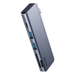 Hub USB-C la PD60W Baseus, 2x USB, SD, MicroSD, gri, CAHUB-K0G