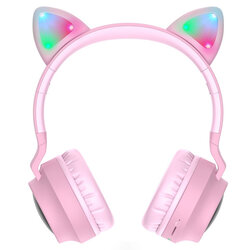 Casti cu urechi de pisica wireless Hoco W27, cu LED, roz