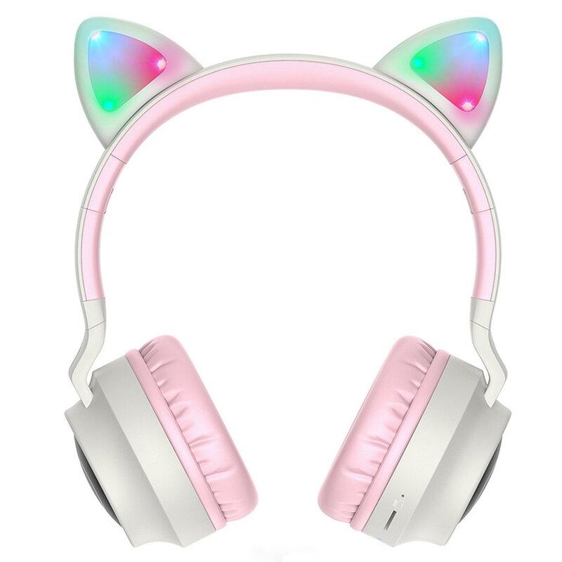 Casti cu urechi de pisica wireless Hoco W27, cu LED, gri roz