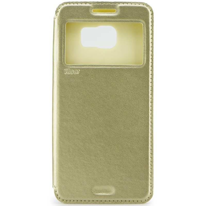 Husa Samsung Galaxy J1 2016 J120 Flip Carte Roar Noble View Case Auriu