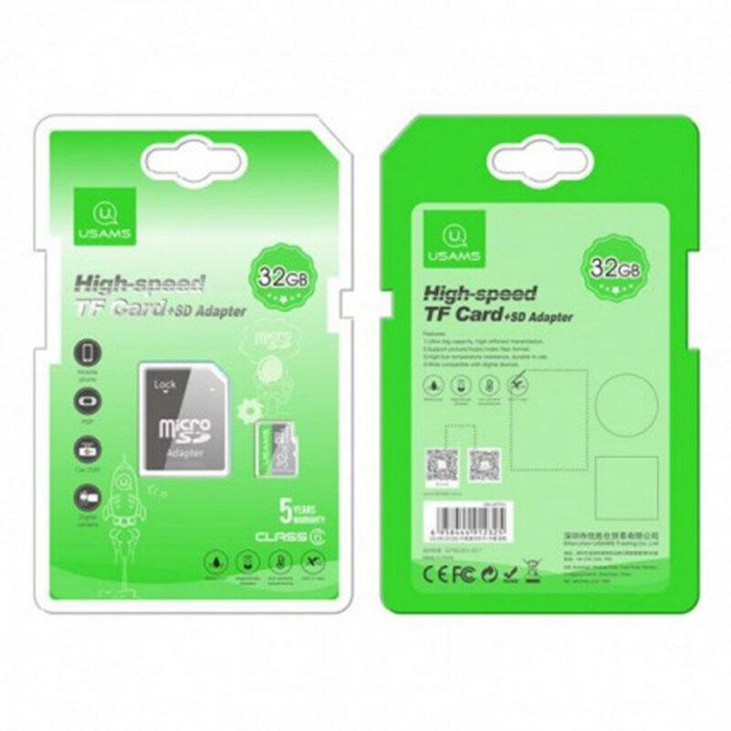 Card de memorie 32GB USAMS Micro SDHC clasa 6 + adaptor, negru