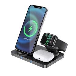 Statie incarcare wireless Hoco CW33 smartwatch, earbuds, 15W, negru