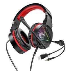 Casti gaming cu microfon on-ear Hoco W104, USB, Jack 3.5mm, rosu