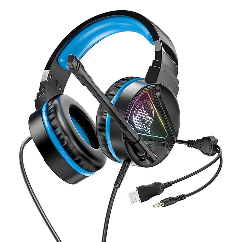 Casti gaming cu microfon on-ear Hoco W104, USB, Jack 3.5mm, albastru