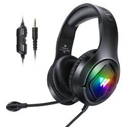 Casti gaming RGB on-ear cu microfon Wintory M1, stereo 3D, negru