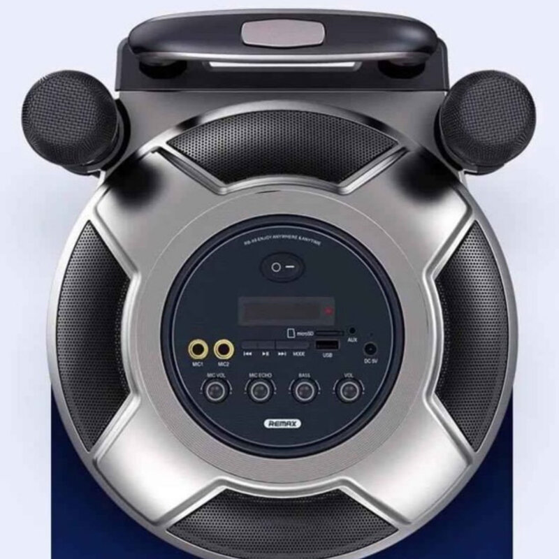 Boxa portabila cu doua microfoane wireless Remax, negru, RB-X6