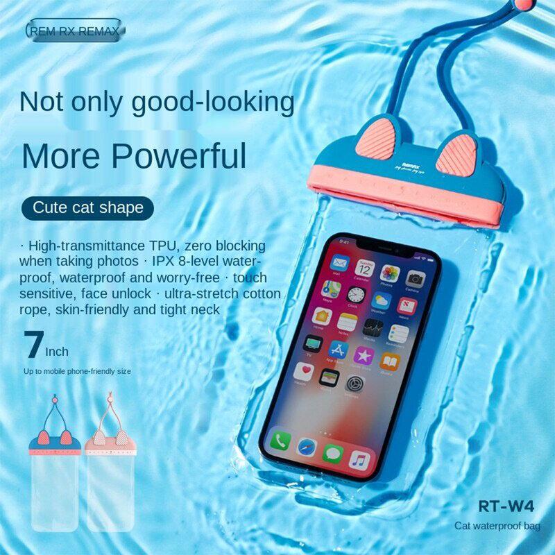 Husa subacvatica telefon Remax, carcasa waterproof, albastru, RT-W4