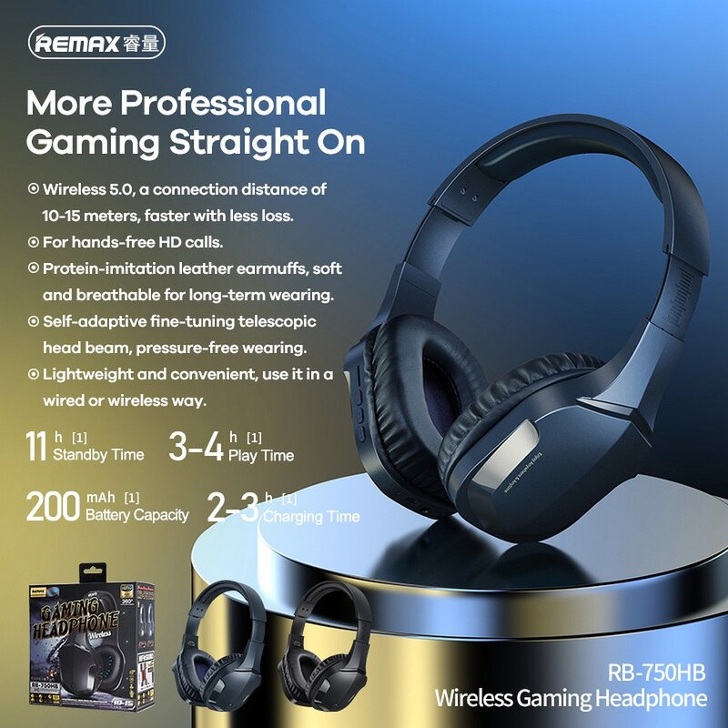 Casti gaming Bluetooth on-ear Remax, Hi-Fi audio, albastru, RB-750HB