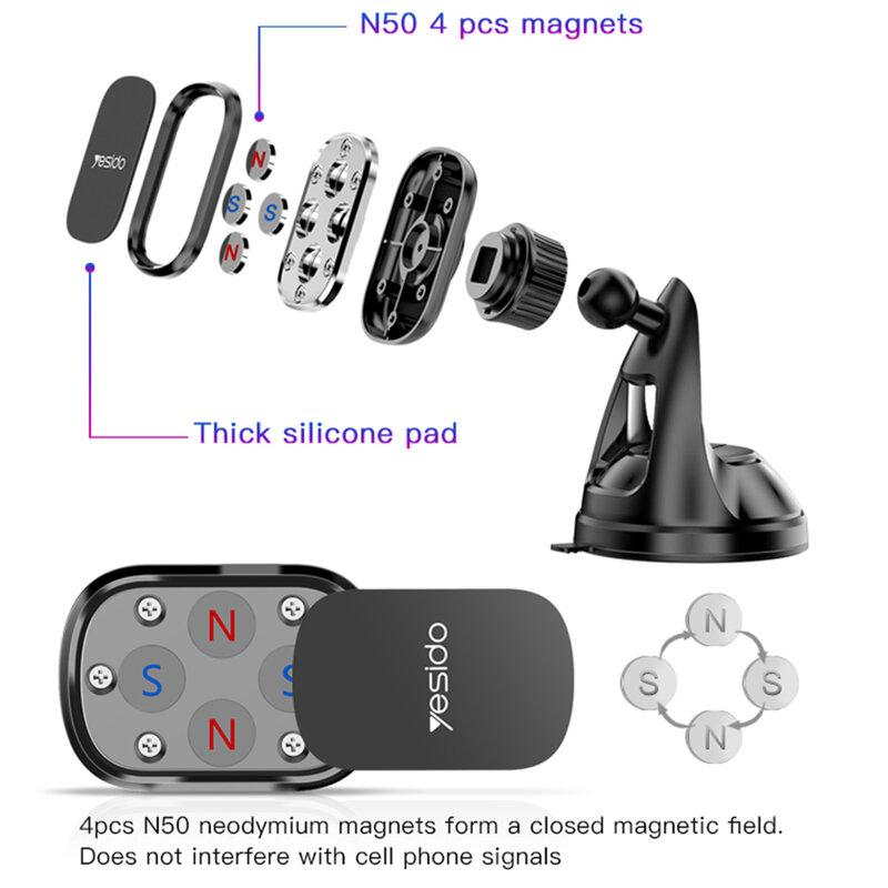Suport telefon auto magnetic Yesido C72, prindere bord, negru