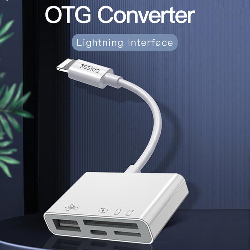 Adaptor OTG iPhone Yesido GS12 la USB, Lightning, TF, SD, alb