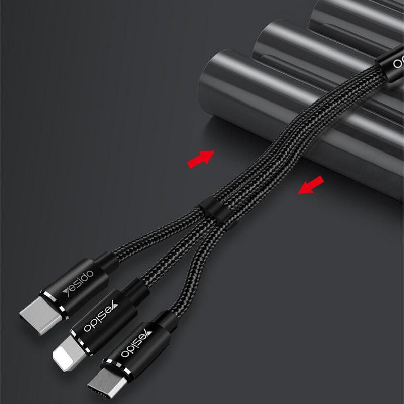 Cablu de date Lightning, Type-C, Micro-USB Yesido CA60, 3A, 1.2m, negru