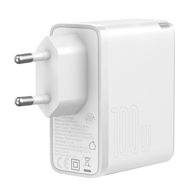 Incarcator Quick Charge 5 GaN2 + cablu USB-C Baseus 100W, alb, TZCCGAN-L02