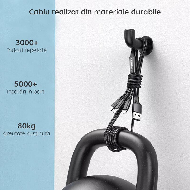 Cablu incarcare Remax Type-C, Lightning, Micro-USB, 3.1A, 1.2m, negru, RC-189th