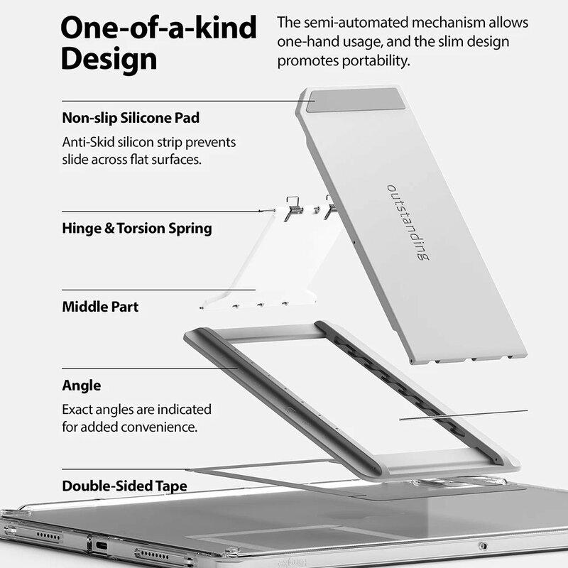 Suport tableta birou Ringke Outstanding, prindere adeziva, gri deschis