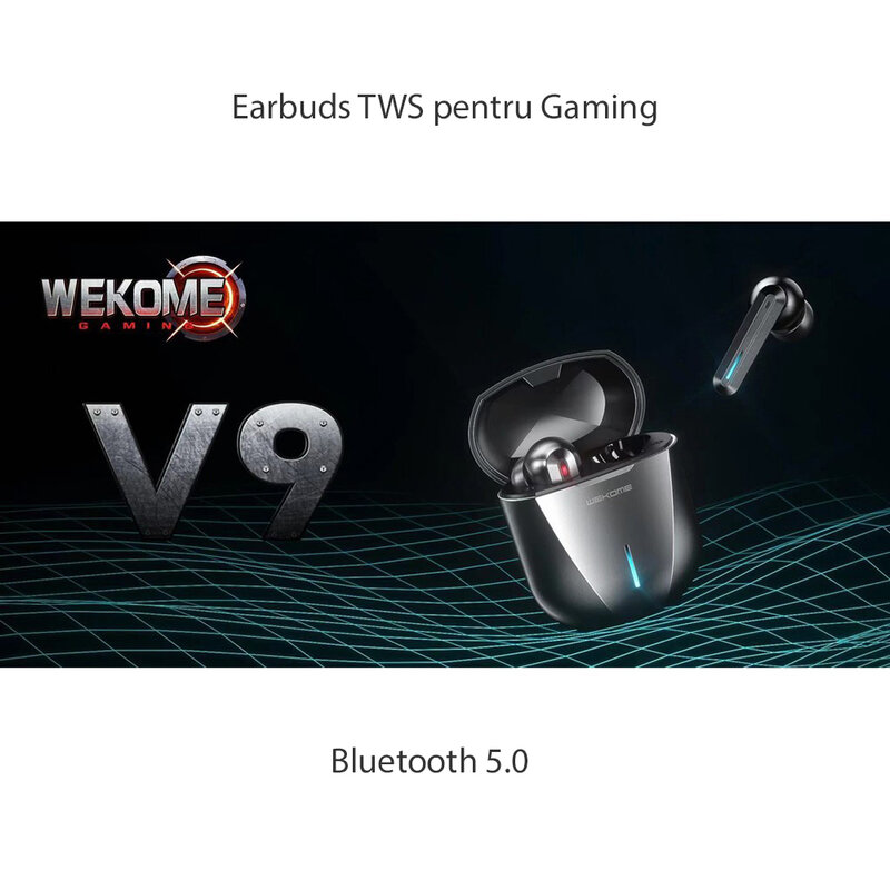 Casti telefon gaming earbuds WK Design ET-V9, TWS Bluetooth, gri