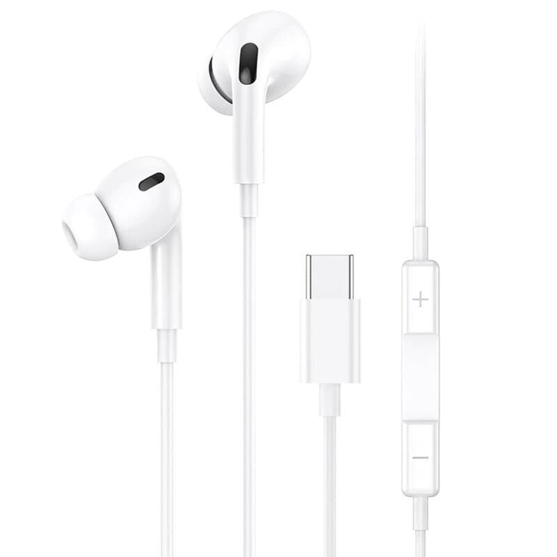 Casti in-ear cu microfon USB-C USAMS EP-41, 1.2m, alb, US-SJ452