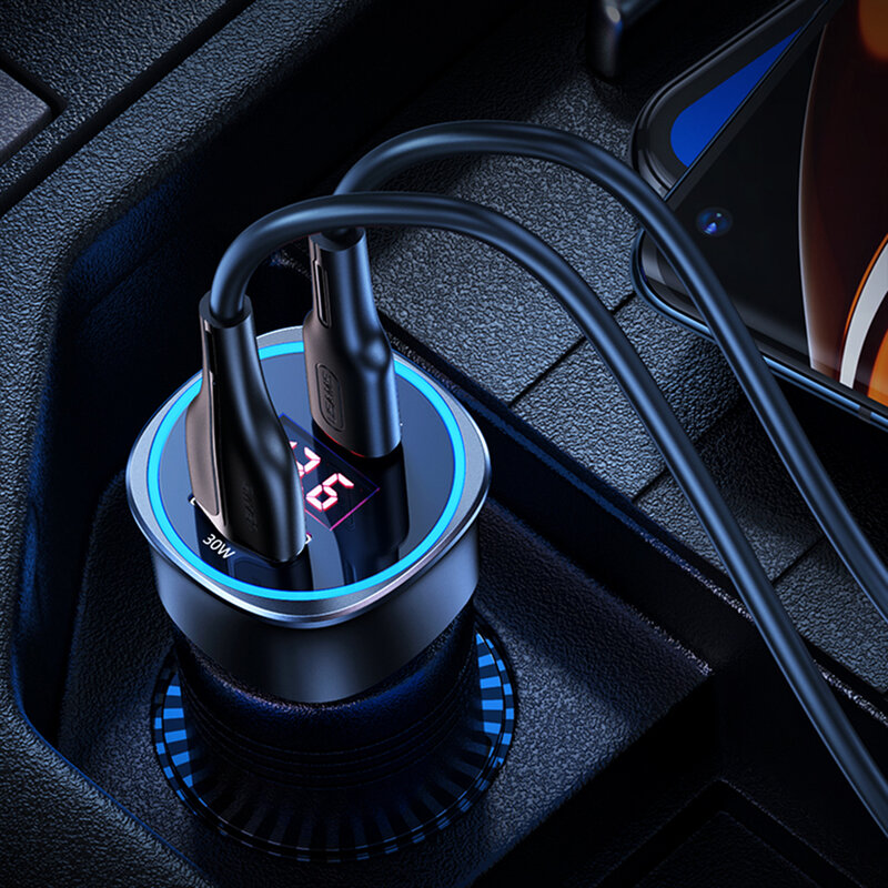 Incarcator auto super fast charge USAMS C26, USB, Type-C PD 95W, gri