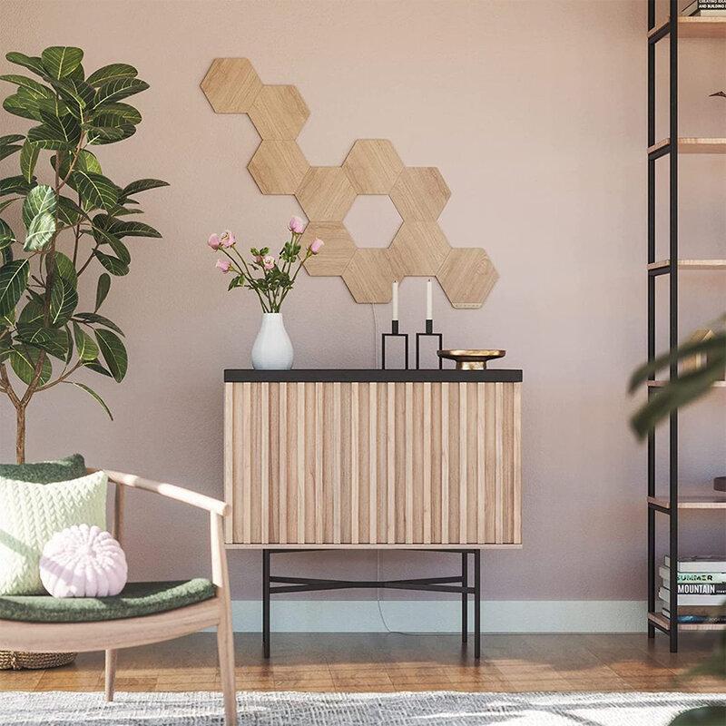 [Pachet 7x] Panouri luminoase Nanoleaf Elements Wood Look Hexagons Smarter Kit