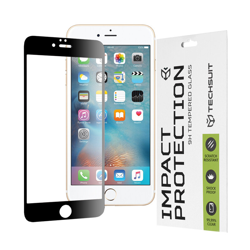 Folie sticla iPhone 6 Plus / 6S Plus Techsuit 111D Full Glue Full Cover, negru