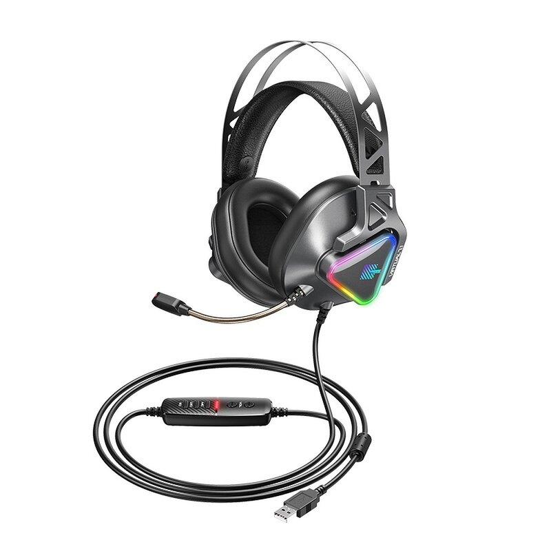 Casti gaming cu fir 2.5m si microfon Remax RGB, gri, RM-810