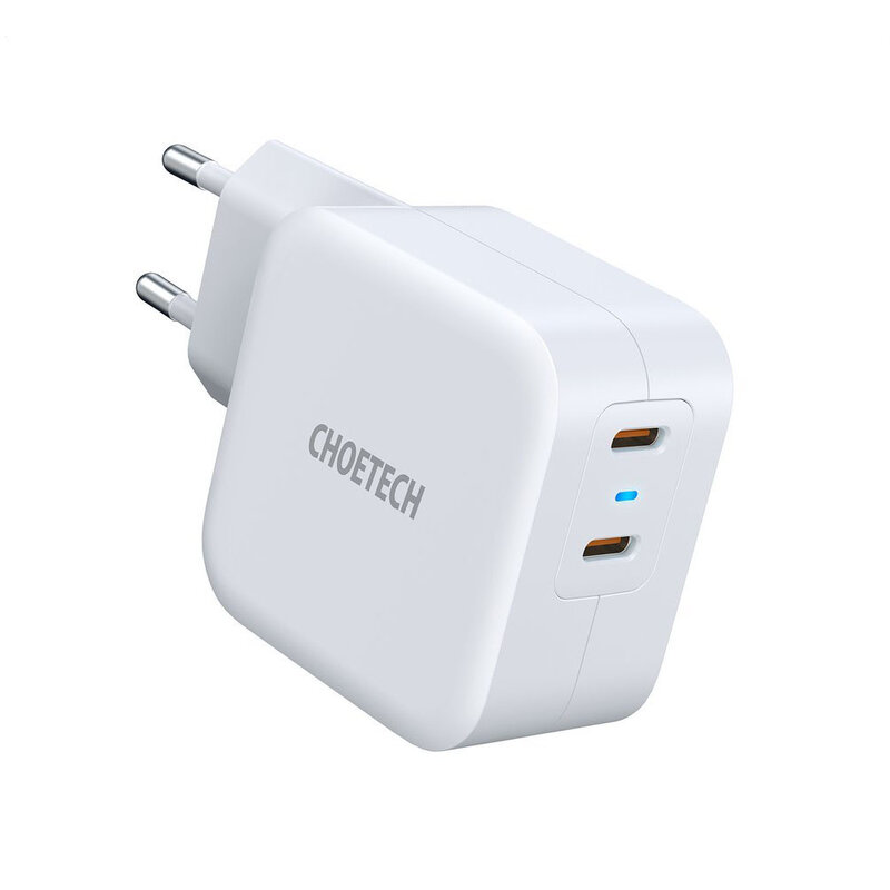 Incarcator Fast Charge Choetech, 2x Type-C PD40W, alb, PD6009