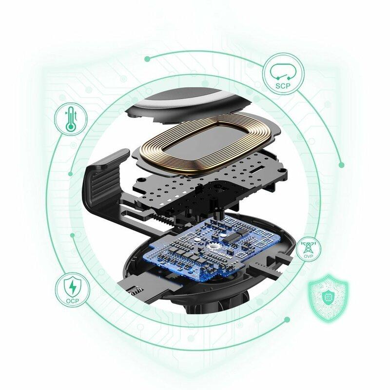 Suport auto wireless charging 10W Choetech, grila ventilatie + bord, T536-S