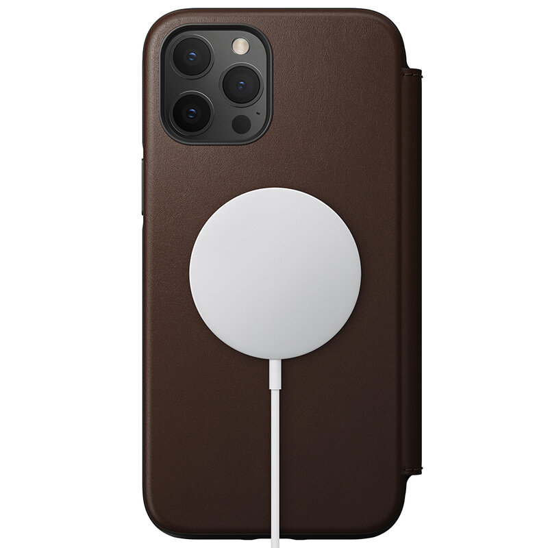 Husa 360 iPhone 12 Pro Max Nomad Rugged Folio, piele naturala, maro